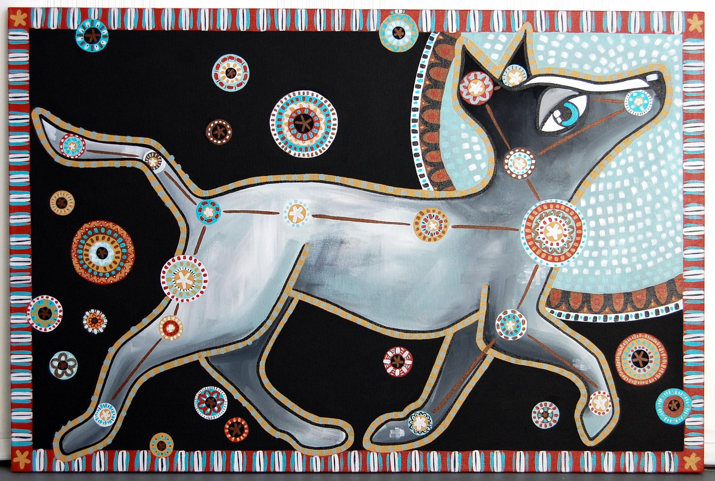 """Laika (Modern Day Canis Major)"" Acrylic on Canvas 24"" x 36"" // SOLD"