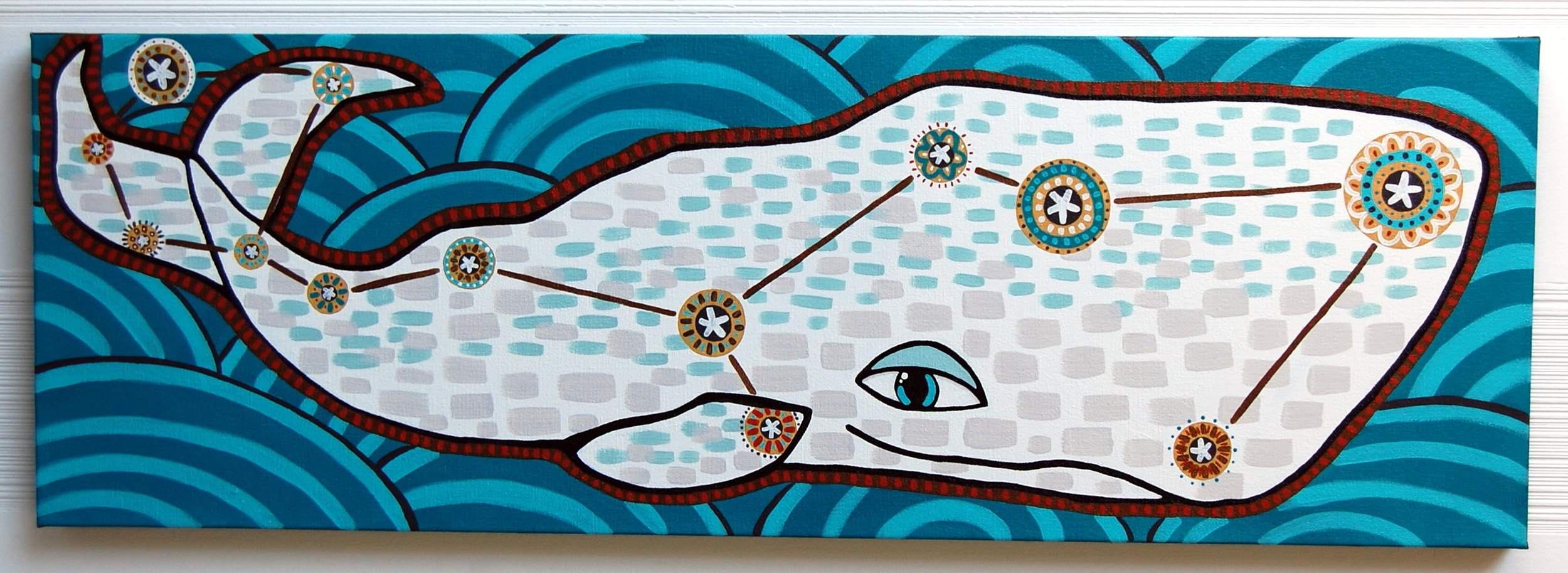 """""""Cetus""""  Acrylic on Canvas 12"""" x 36"""" // SOLD"""