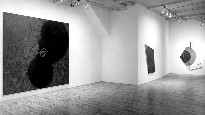 Installation view: Elizabeth Murray at Paula Cooper Gallery, November 1976. Featuring L to R:  Beginning  (1976),  Singing School  (1976),  To be Titled  (1976). Courtesy Paula Cooper Archives