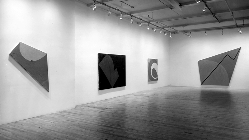 Installation view: Elizabeth Murray at Paula Cooper Gallery, November 1976. Featuring L to R:  Harry  (1976),  Back  (1976),  Rolling Ball  (1975-76),  Rise  (1976). Courtesy Paula Cooper Archives