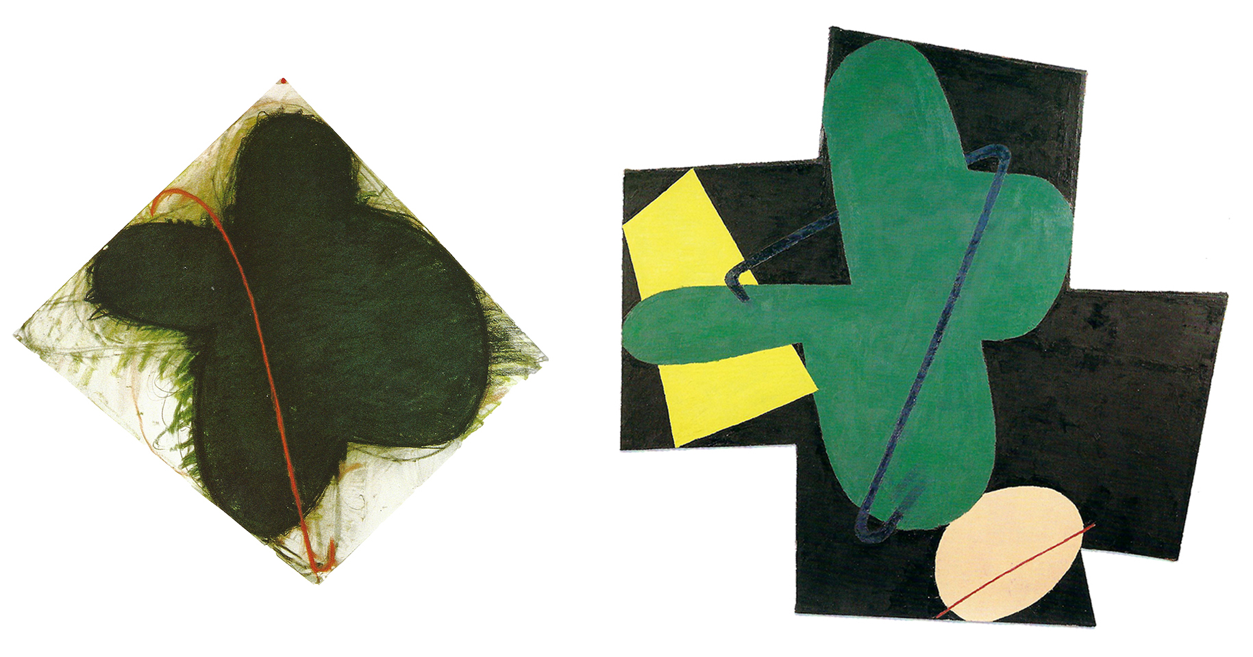 "The drawing on the left ""September,"" 1979, pastel and charcoal on paper, 38 1/4 x 40 3/4 in. (97.2 x 103.5 cm), is likely the inspiration for the massive green petal-like shape found in ""Druid,"" 1979 (right)."