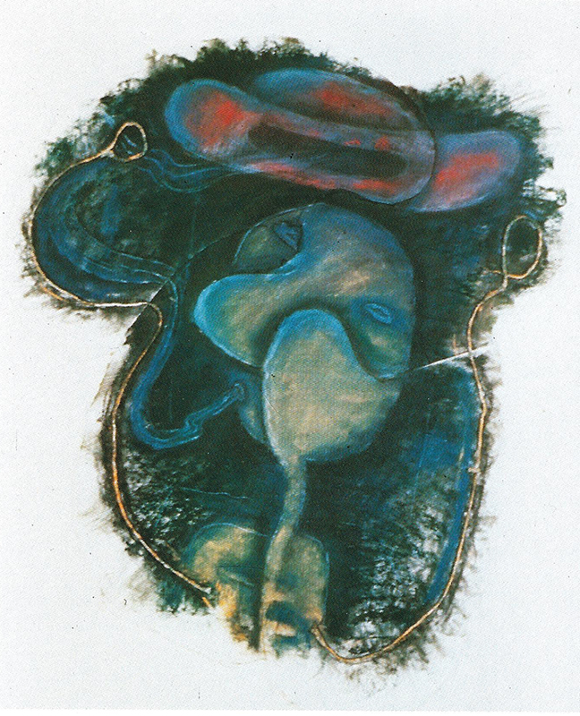 """Elizabeth Murray, """"Music,"""" 1990, Pastel and charcoal and string on paper with collage, 32 1/2 x 28 x 1/4 in. (82.6 x 71.1 x .6 cm), Collection of the Murray-Holman Family Trust, New York"""