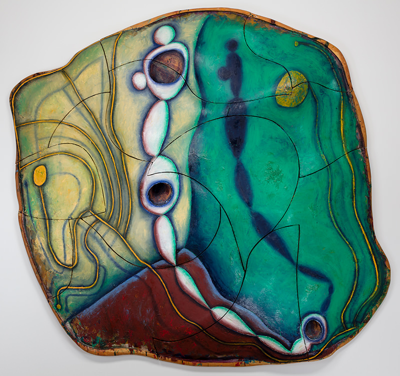 Elizabeth Murray (1940-2007)  Wishing for the Farm  Oil on canvas on wood, 1991 107 1/8 × 114 3/4 × 13 1/2 inches University of Nebraska–Lincoln, gift of Hormel Harris Foundation, Rhonda Seacrest, Donna Woods, and funds from the Olga N. Sheldon Acquisition Trust and the Charles W. Rain and Charlotte Rain Koch Gallery Fund, U-6778.2018