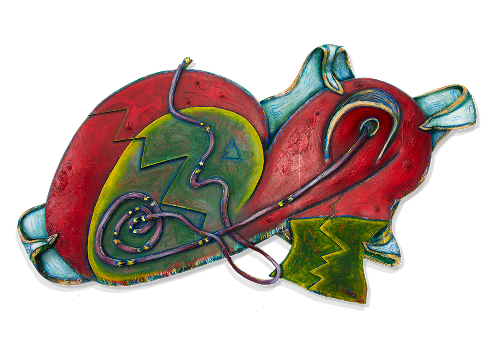 """Elizabeth Murray, """"Duck / Wabbit,"""" 1992, Oil on canvas, 84 x 140 x 12 in. (213.4 x 355.6 x 30.5 cm) Collection of the Murray-Holman Family Trust, New York"""
