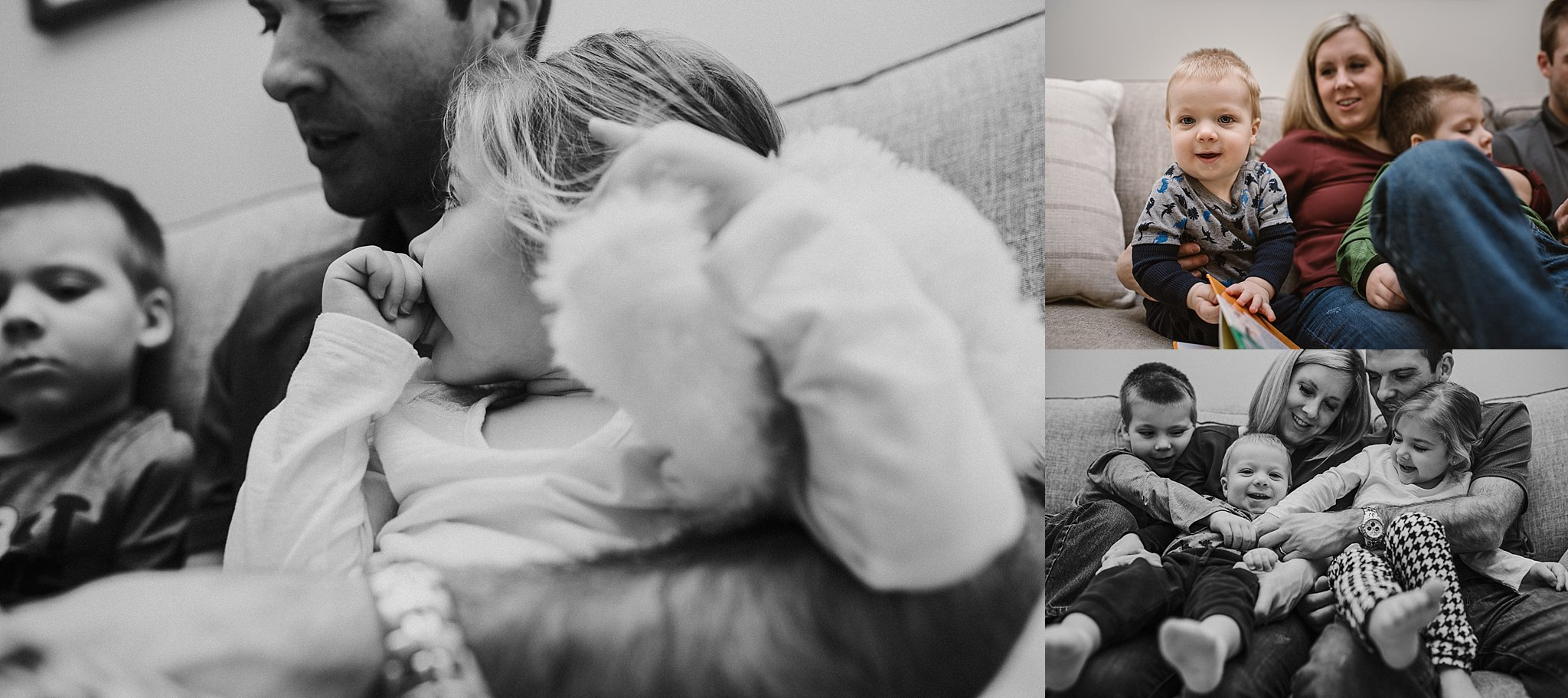 Family story time, in-home photography, lifestyle session