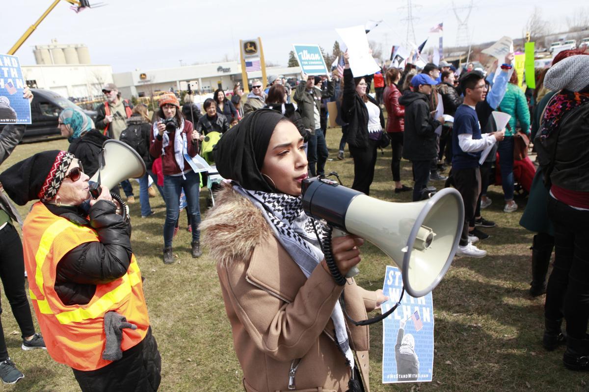 Sarah leading chants at anti-Trump rally 4/15/19