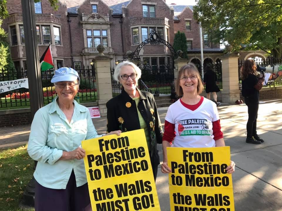 Sarah, Lucia, Carol at Elbit Protest in St. Paul