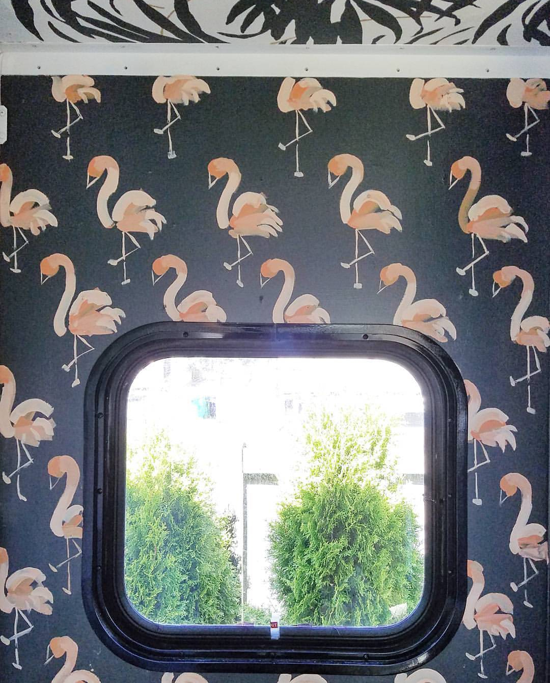 I painted some miniature flamingos in the RV but they only lasted a day before they were painted over.