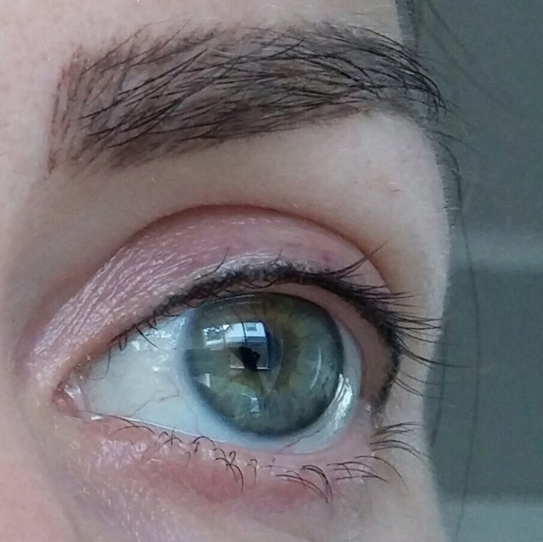A closeup of my tattooed eyeliner done in Portland. I asked him to tattoo as close as possible to the lash line.