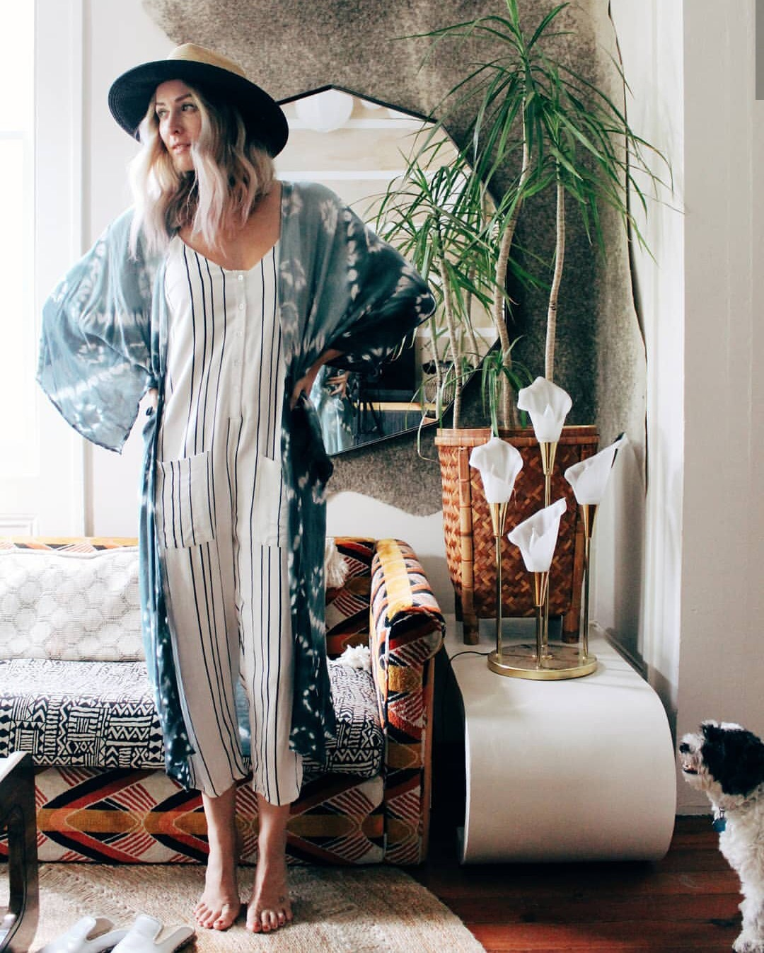 Neutral stripes paired with an organic shaped blue kimono.