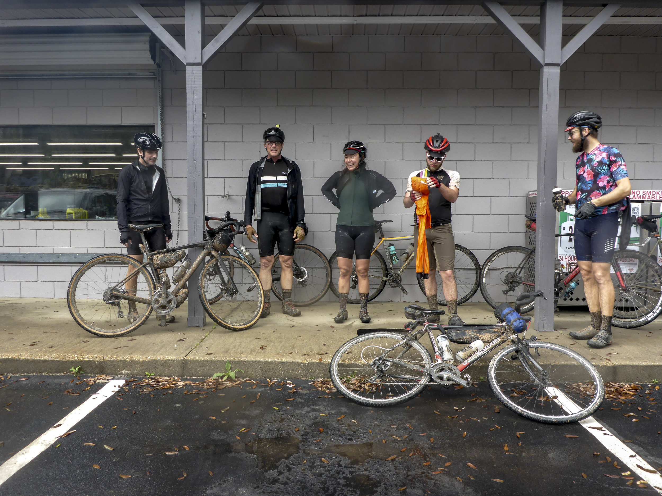 Gas station rain reprise  Pictured from left: John Christopher Matyjasik, Gerry Weber, Chanel Zeisel, Jacob Cronan and Gregory Zahl
