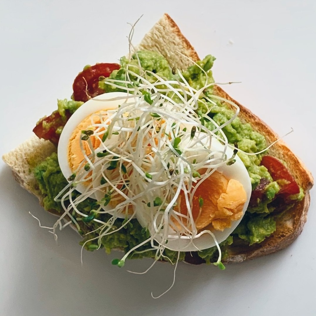 high protein snack, avocado toast with egg