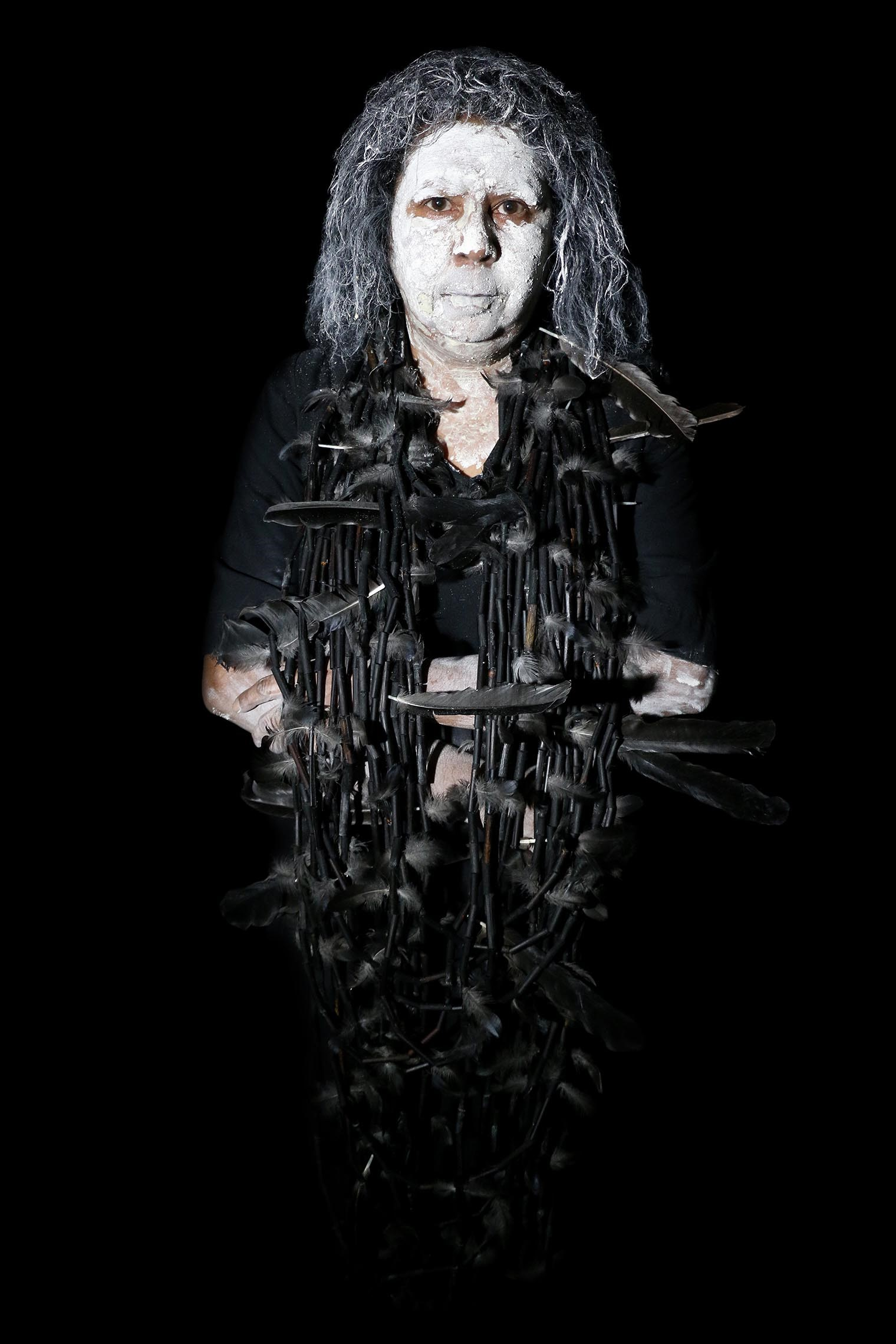 Maree Clarke,  Self Portrait with Mourning Necklace,   2017, Digital image on dibond, Courtesy of the artist and Vivien Anderson Gallery, Melbourne.