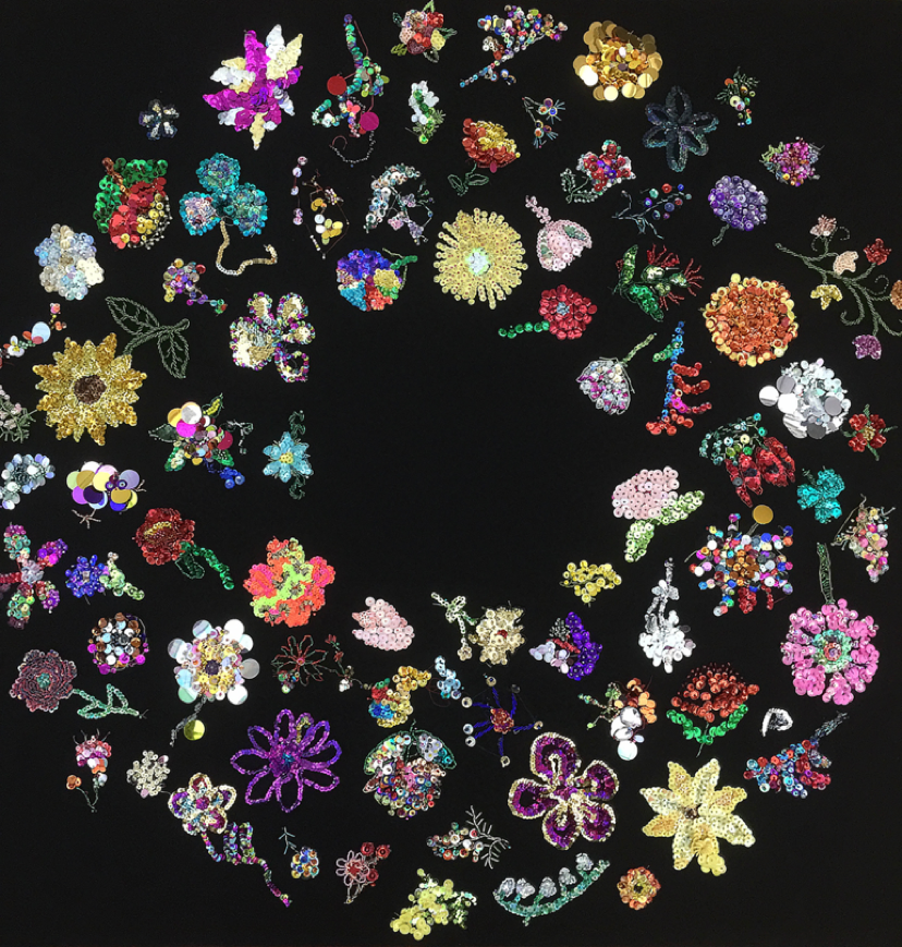 Liam Benson:  Thoughts and Prayers, 2015-2017, glass seed and bugle beads, sequins, cotton, tulle, 135 x 135cm. Courtesy the Artist and Artereal Gallery.