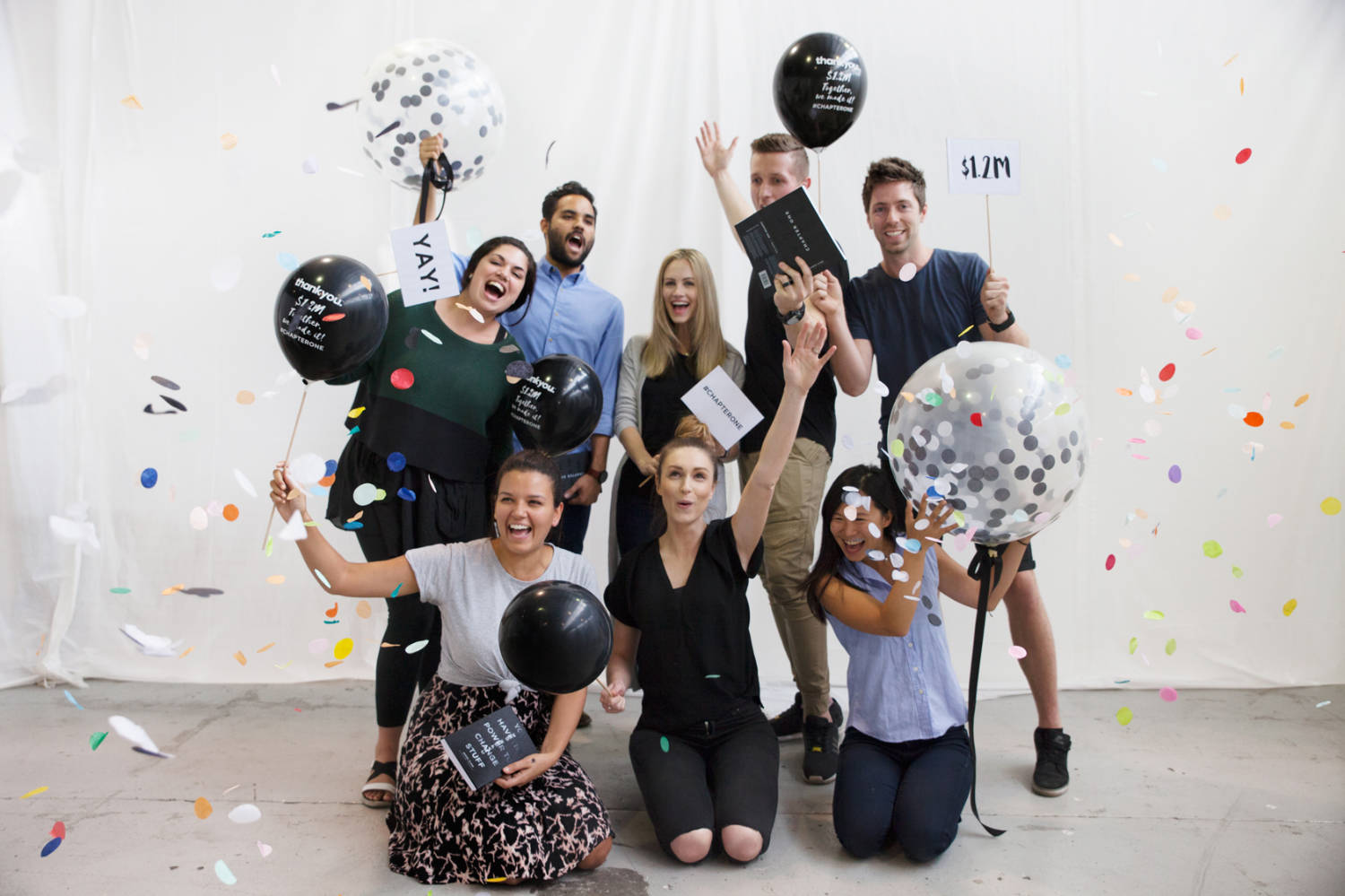 Thankyou's Chapter One campaign team celebrating the achievement of their $1.2m fundraising target.  Source: Wesley Rodricks,  Thankyou  media kit