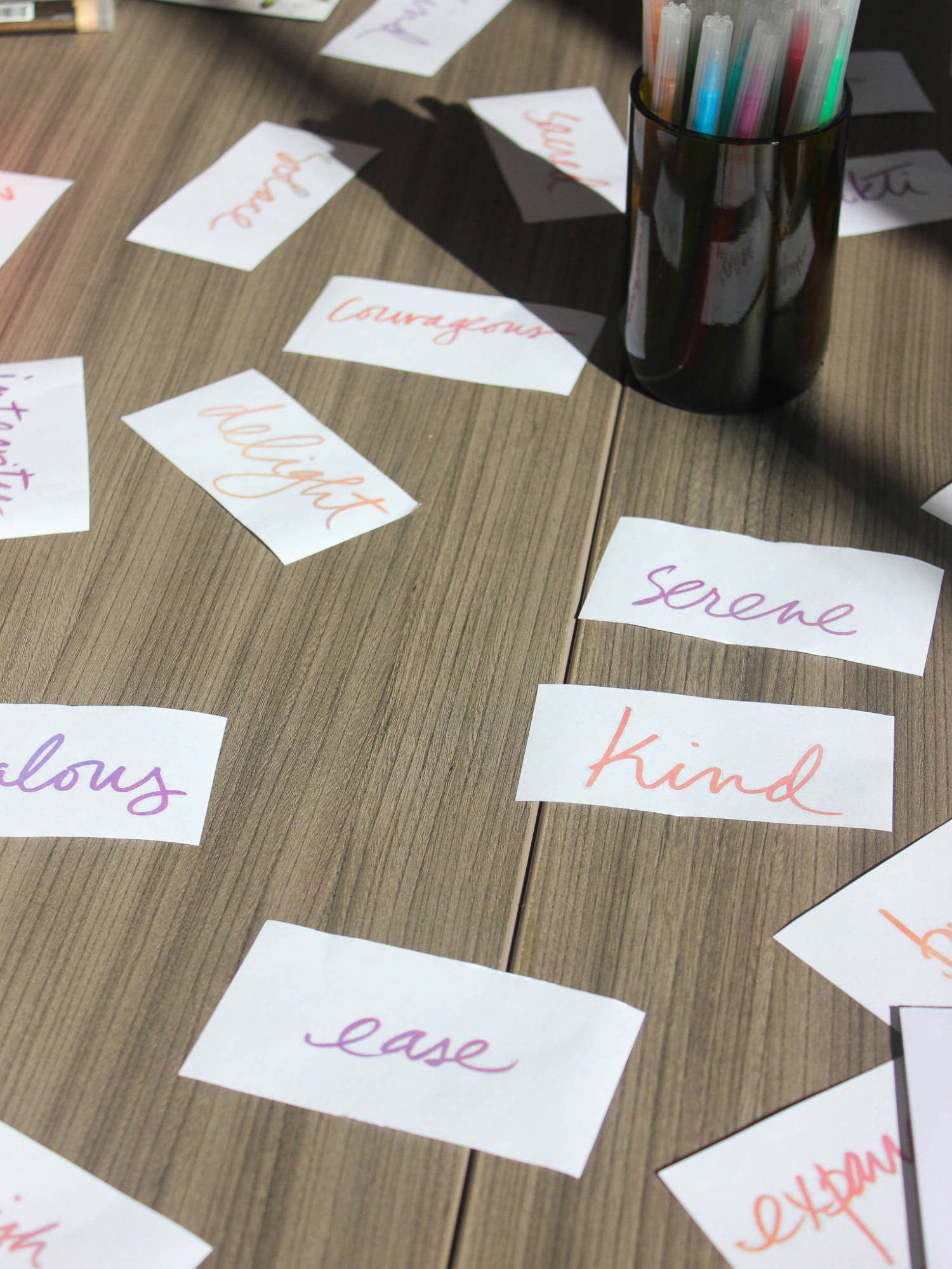 Positive feelings scattered on the table at the  Inspired and Intentional  urban retreat. Photo by  Stephanie E. Chung , 19 August 2017.