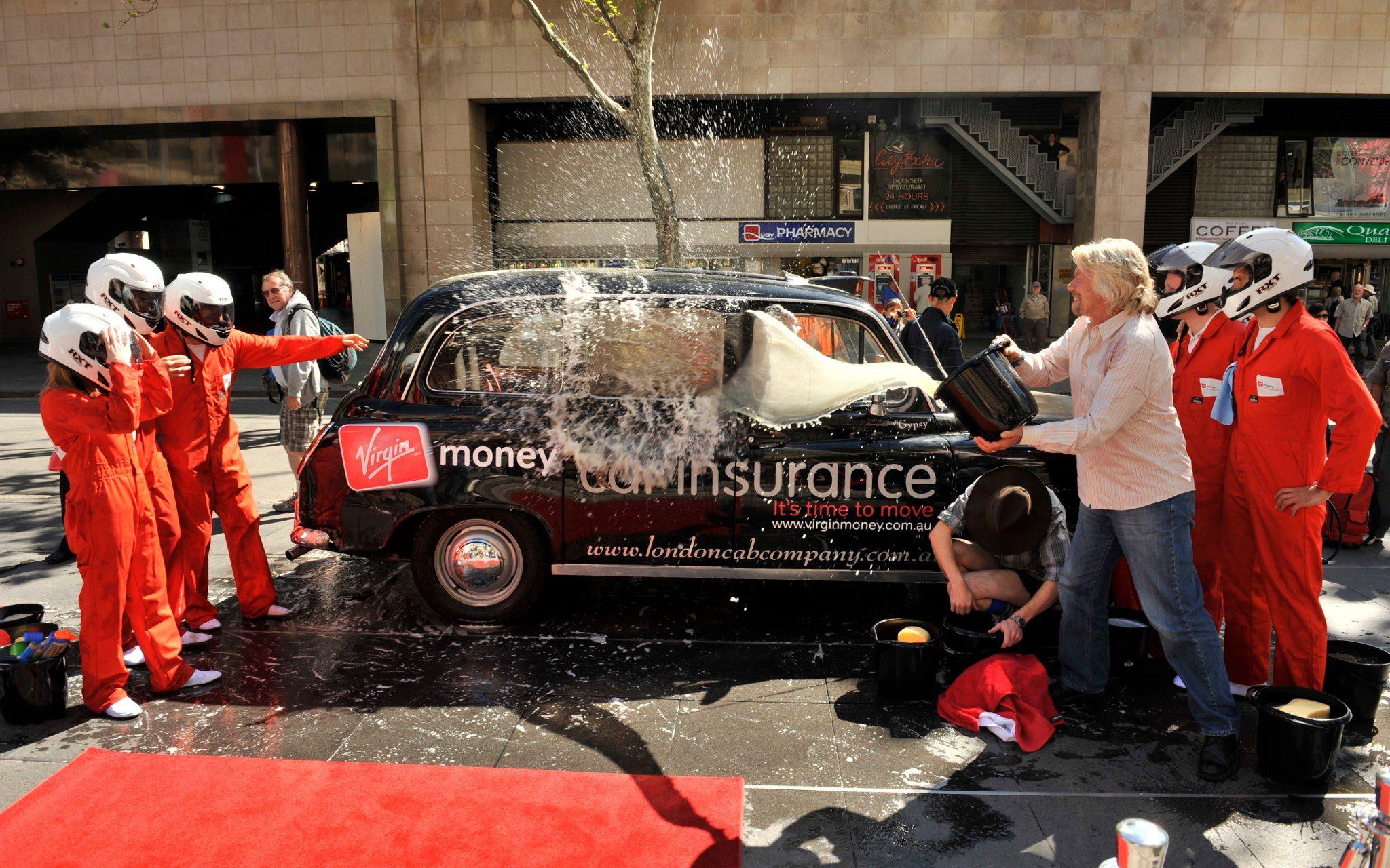 Richard Branson at the launch of Virgin Money Car Insurance Launch