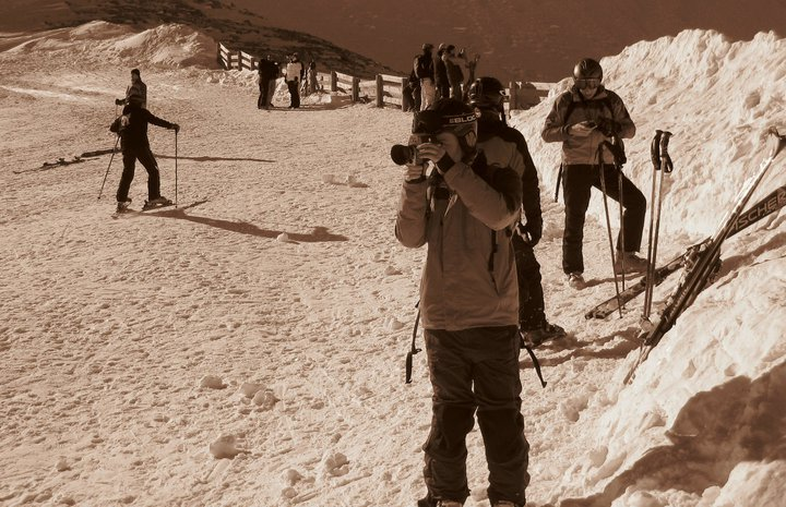 Doug filming some skiing with his Super 8 camera. Please note, we don't use it for weddings.