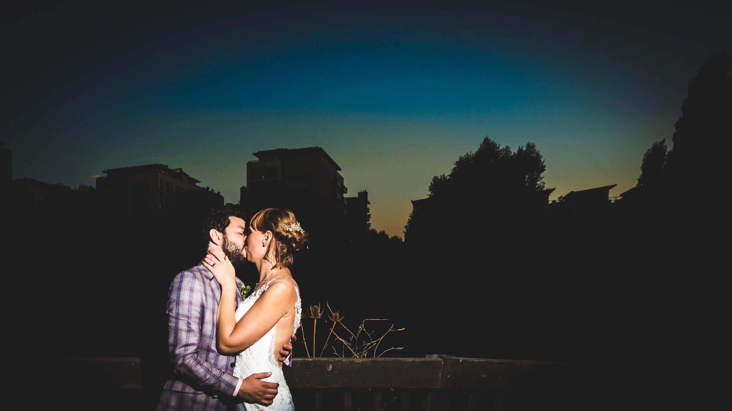 Bride and groom, night sky