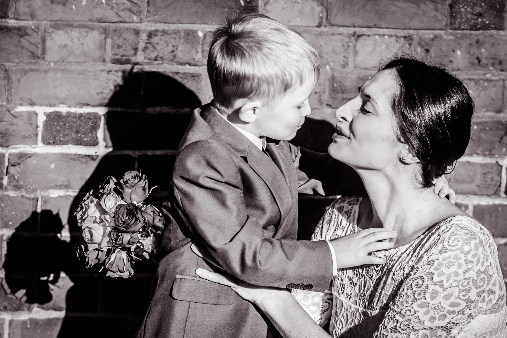 bride and son kiss b&w.jpg
