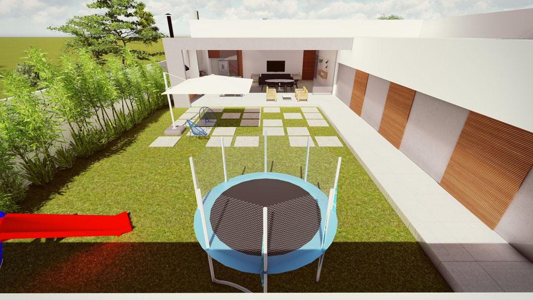 Os quarto se articulam com o pátio interno via porta-balcão. O gramado do pátio integra os ambientes. - GOSTOU DESSA IDEIA?
