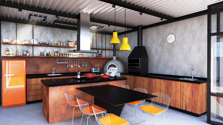 A estrutura metálica e a laje exposta em steel deck, trazem um estilo industrial descontraído para o gourmet e para o atelier. - GOSTOU DESSA IDEIA?