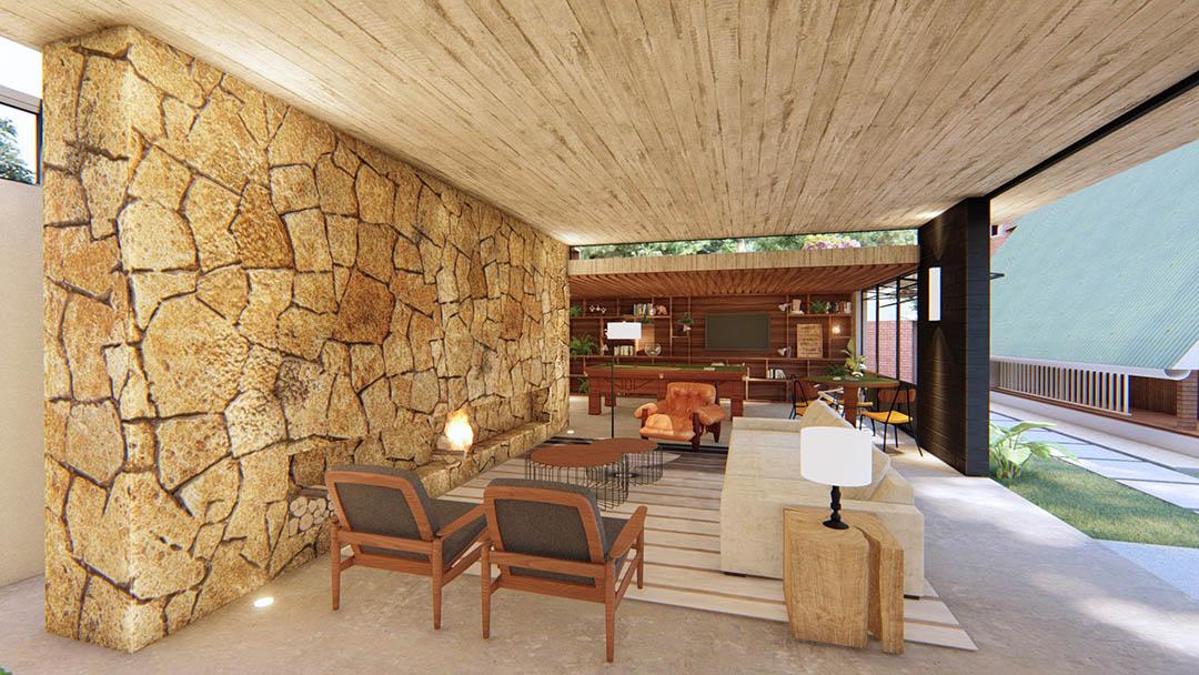 Pedra, concreto e madeira carbonizada, combinados com elementos industriais dão ao projeto uma identidade única. - GOSTOU DESSA IDEIA?