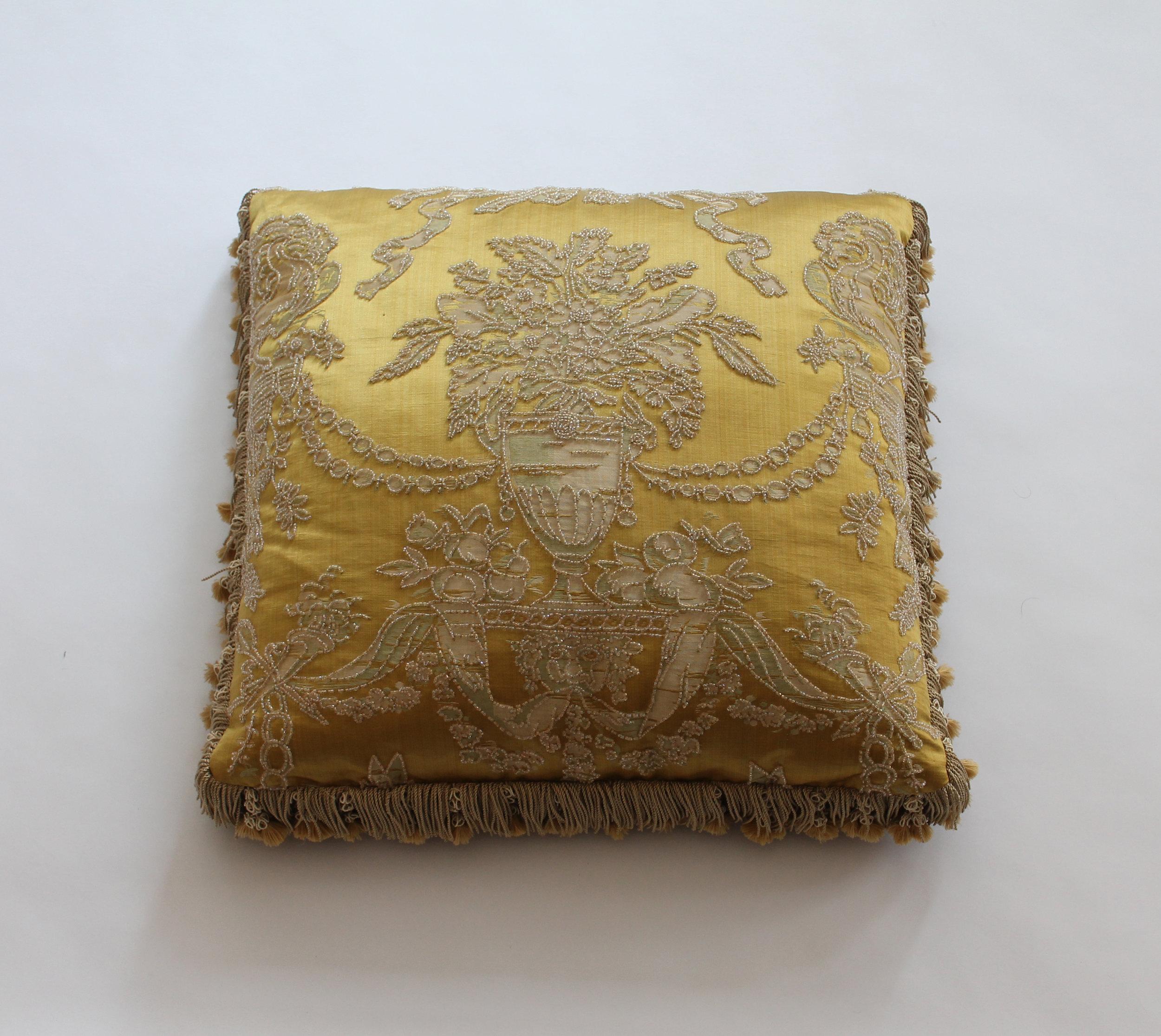 Beaded silk/linen lampas  Retail Price $2400.00