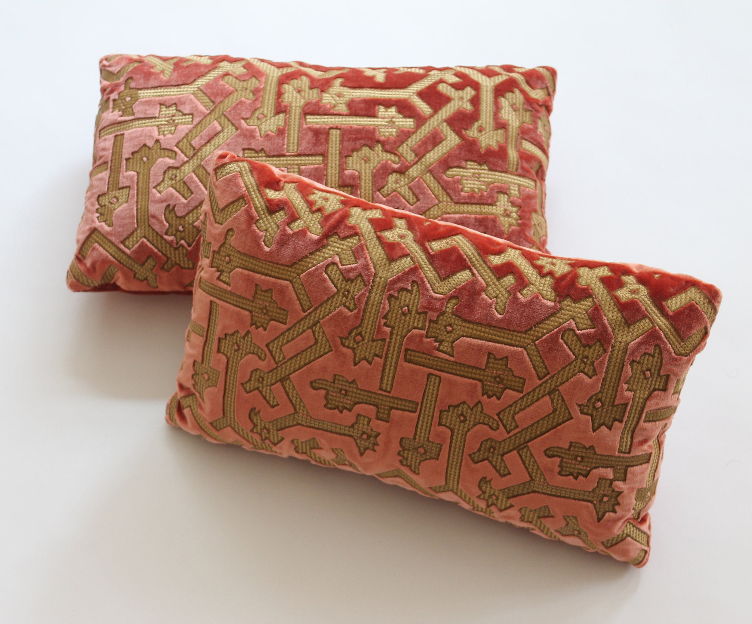 "Embroidered ""Morocco"" on silk velvet  Retail Price $1400.00 (pair)"
