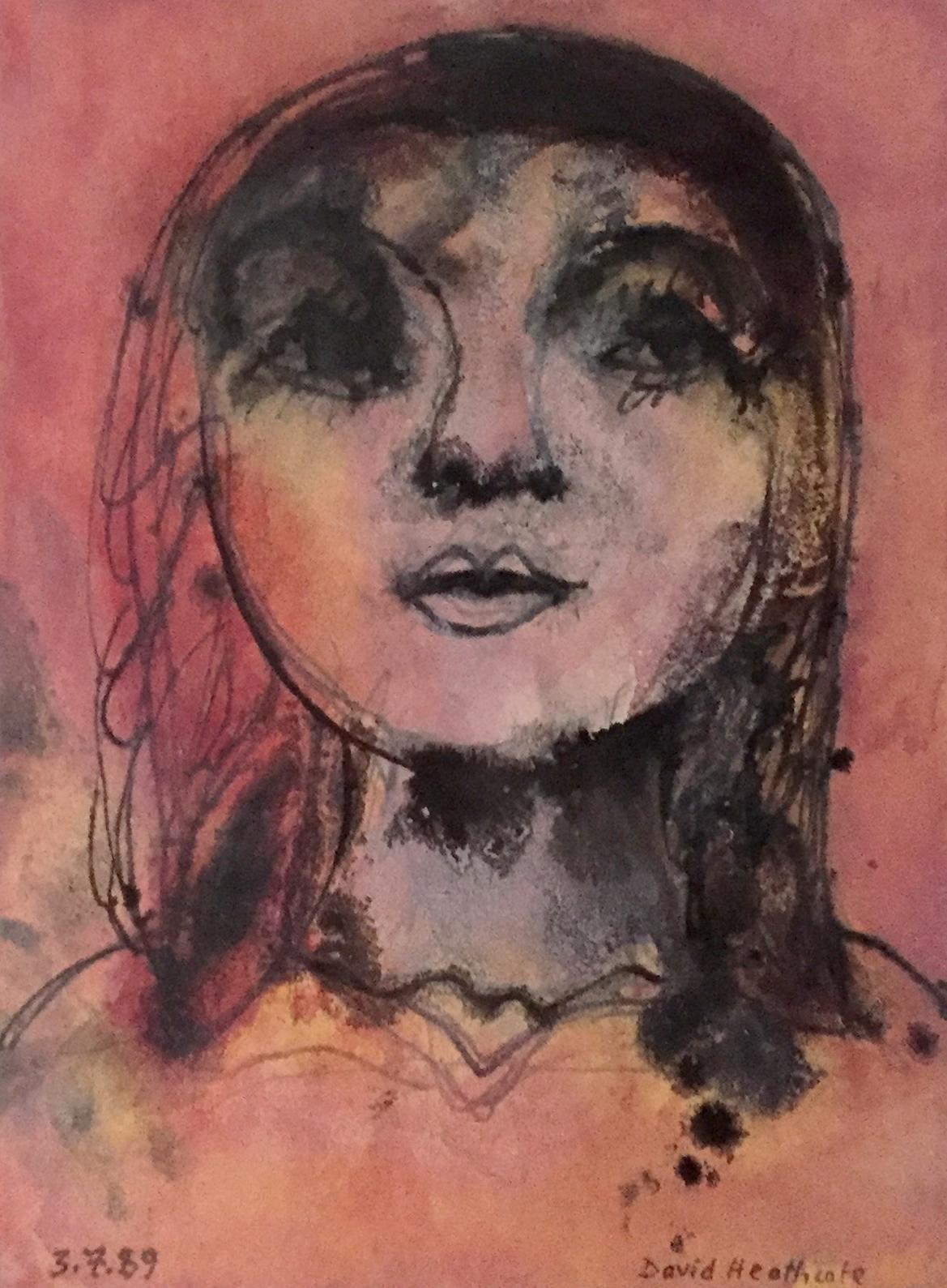 (C) David Heathcote  'Day Dreaming'  Mixed media on paper  15x11cm
