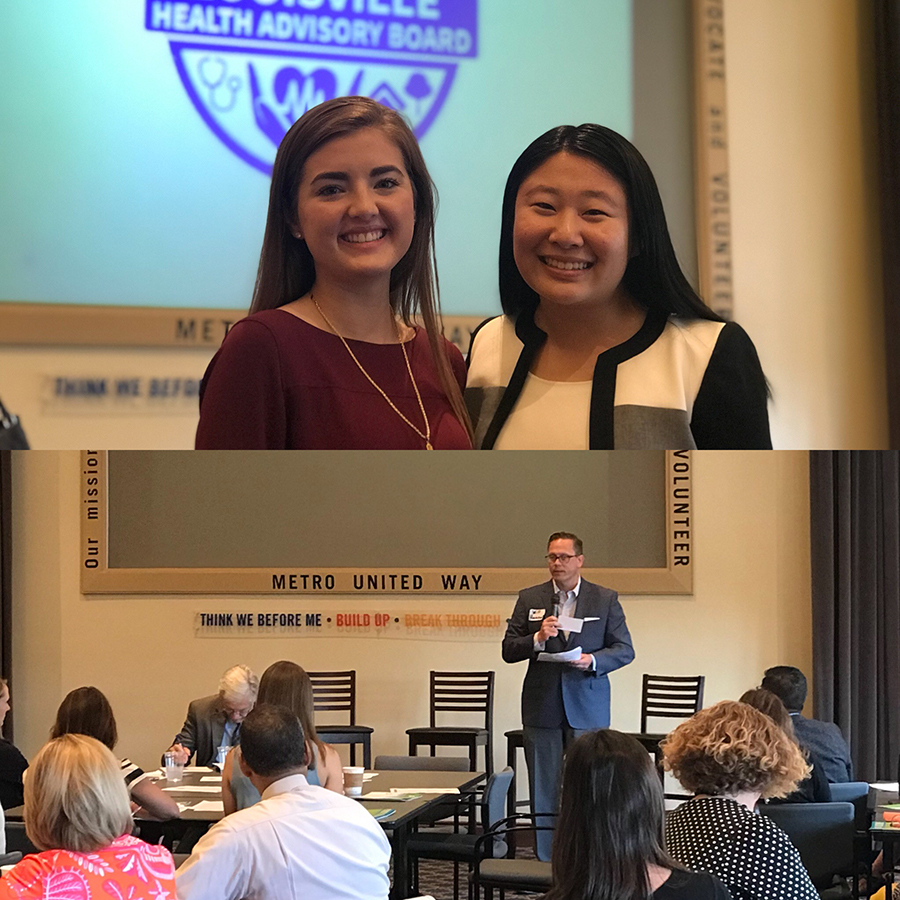 Top: LHAB Communications Committee Interns Hannah Deaton (Bellarmine) and Grace Jin (Yale) following their presentations during Committee Updates. Bottom: Will Hancock from NovoNordisk shares an update from the Diabetes Committee.