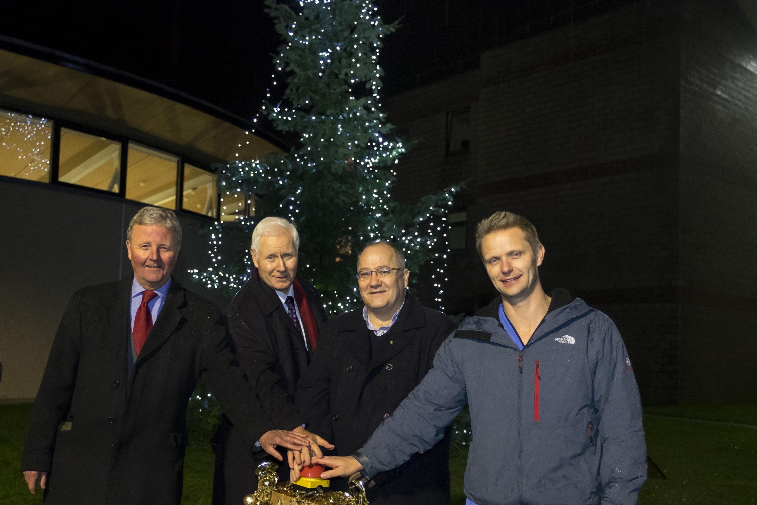 L to R: James Marjoribanks (The Difference), John Raine (Chairman, NHS Borders), James Torrie & Richard Turnbull (Huntlyburn Ward)