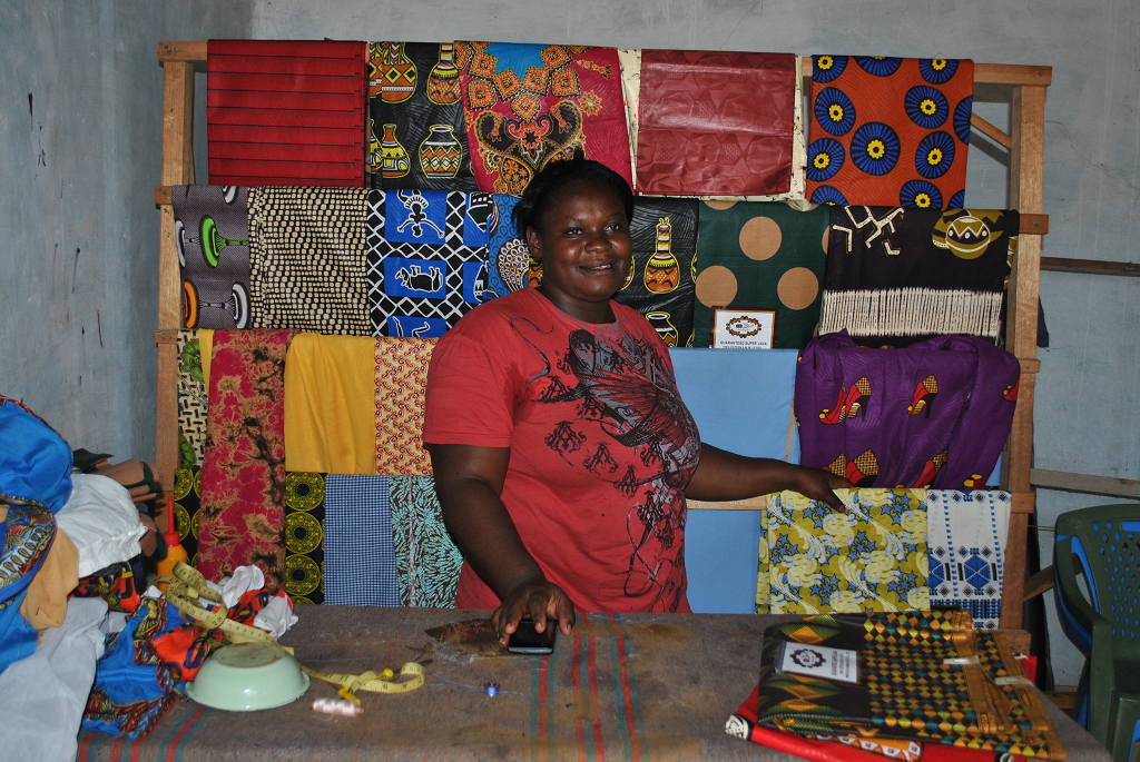 Benter Apiyo at her tailoring shop