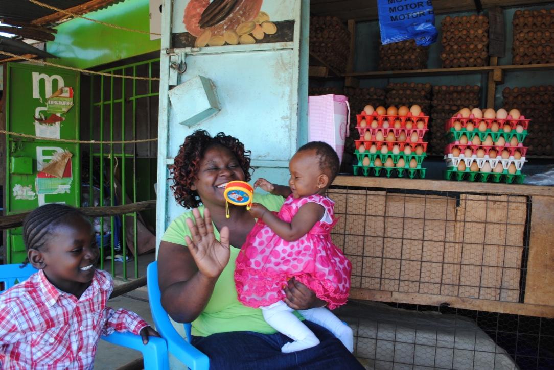 Benter Apiyo at her egg (wholesale) shop