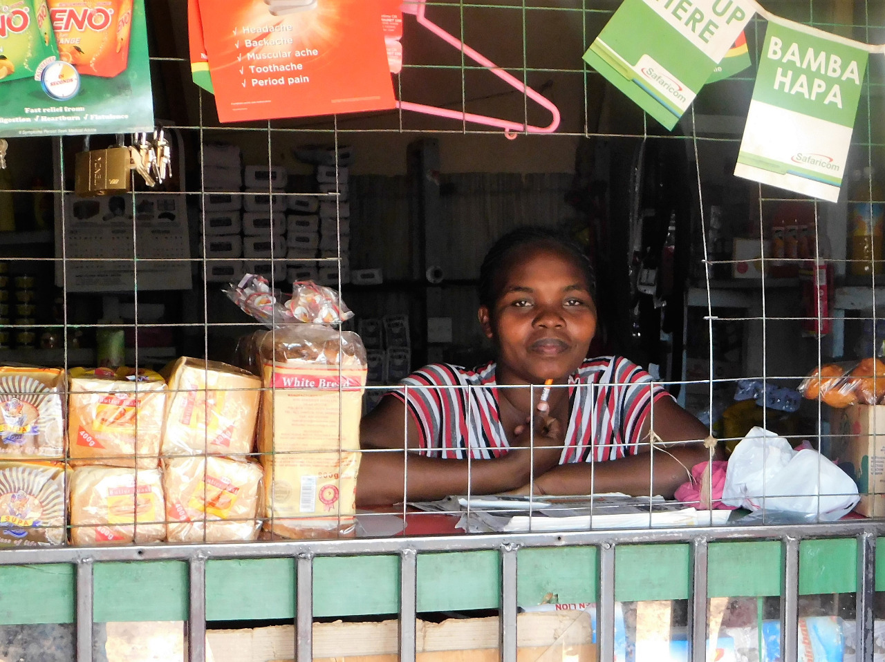 Rehab Wasonga at her refreshments shop in Kalandin market