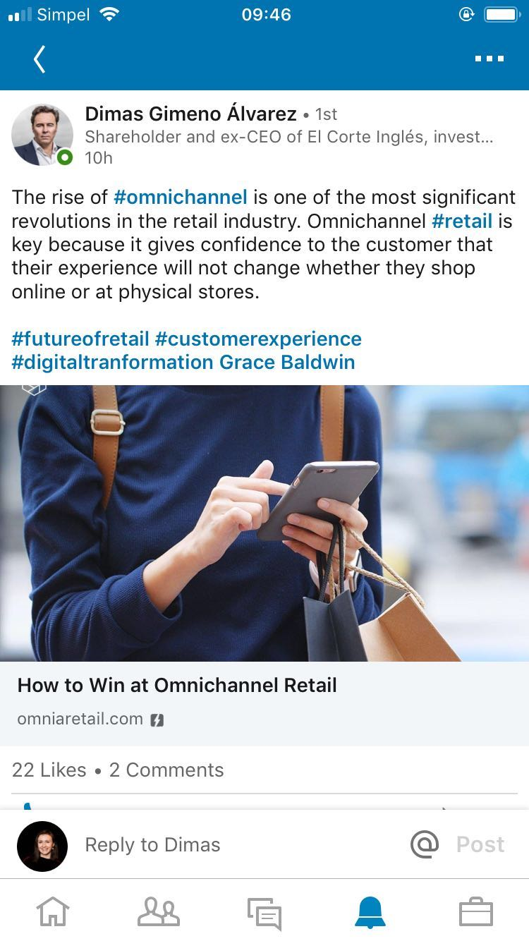 Spreading like wildfire. - Omnia doesn't just claim to be a thought leader. The company is actually on the forefront of innovation in retail automation software. Our content is great enough that it gets shared by top leaders in the field, such as this piece shared by Dimas Gimeno Álvarez, former CEO of El Corte Inglés, the fourth-largest retailer in the world.