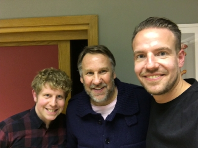 Josh Widdicombe and Chris Scull with Series 1 guest Paul Merson