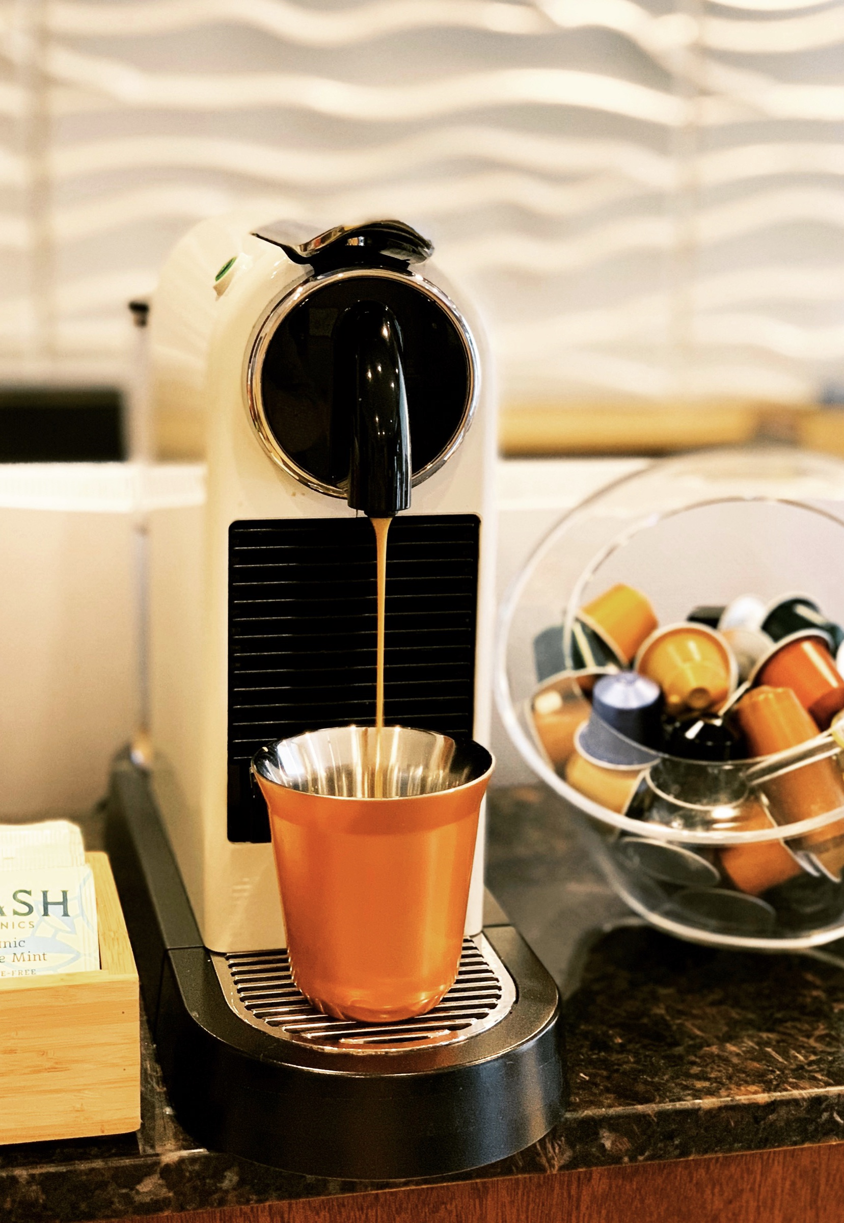 Complimentary Nespresso, Chocolates and Asian Teas