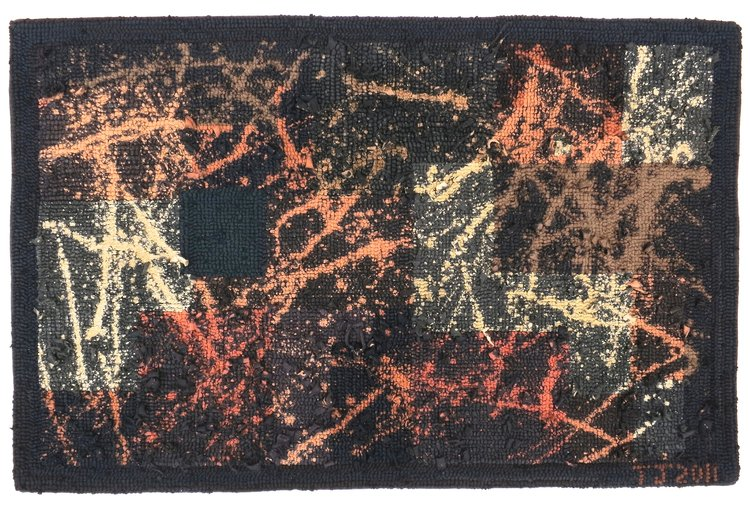 """Interrupted: Homage to Pollock and Rothko  2013 19.5"""" x 30"""" Black cotton t-shirts hand hooked on Monk's cloth and color manipulated."""