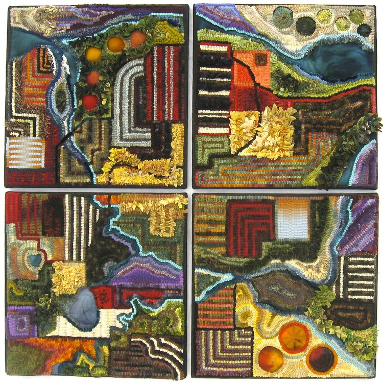 """Land Parcel Quads   2009, #3 in Fly Over Land Series approximately 37"""" x 37"""" (each quarter 18"""" x 18"""" mounted individually). Hand hooked, appliquéd, machine stitched with mixed fibers on Monk's cloth."""
