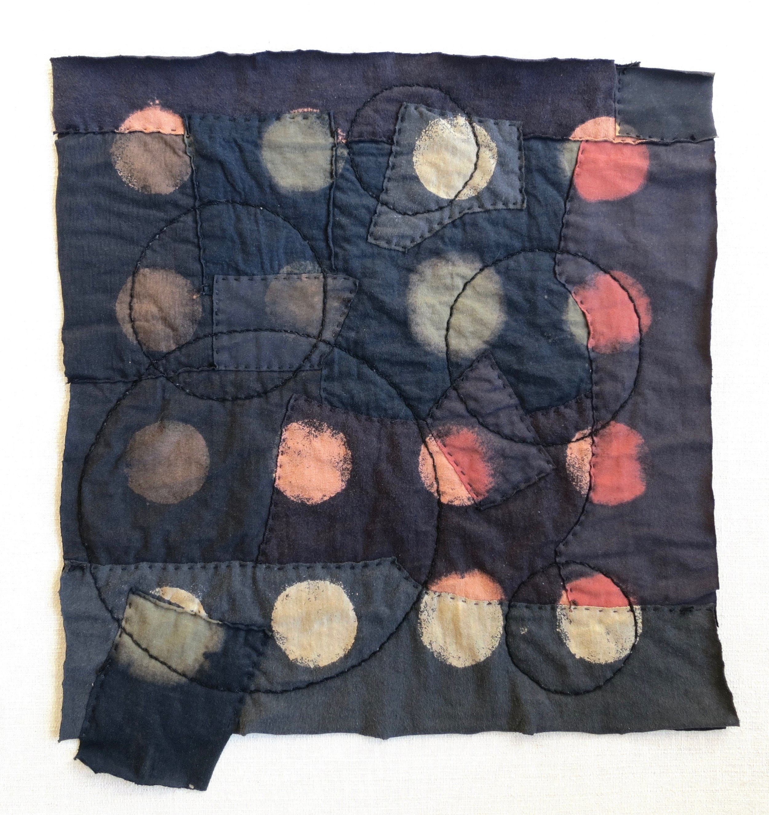 """Black T Boro: Circles   20"""" x 20"""" Cotton t-shirts collaged, hand sewn and color manipulated."""