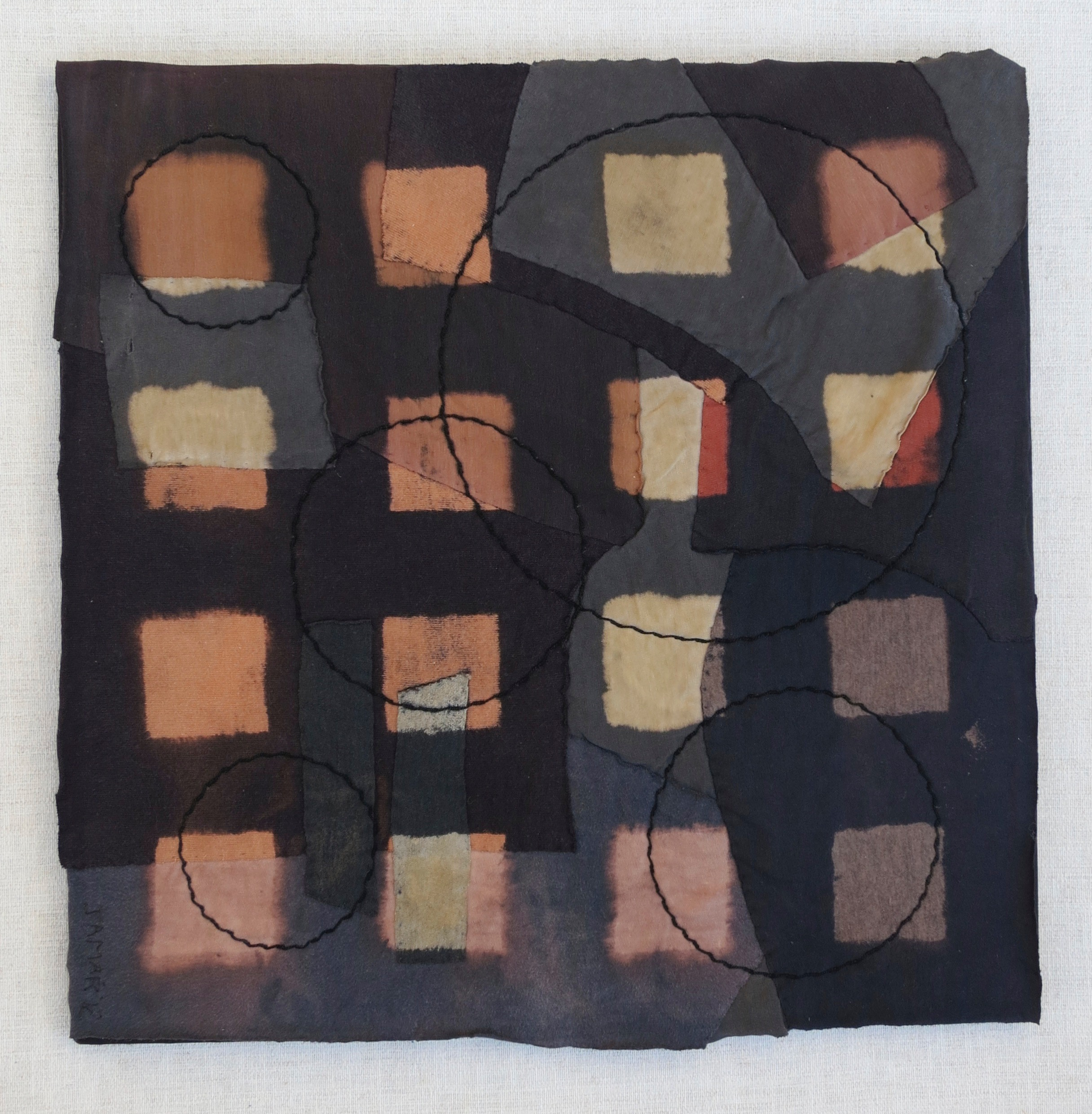 """Black T Boro: Squares    20"""" x 20"""" Cotton t-shirts collaged, hand sewn and color manipulated."""