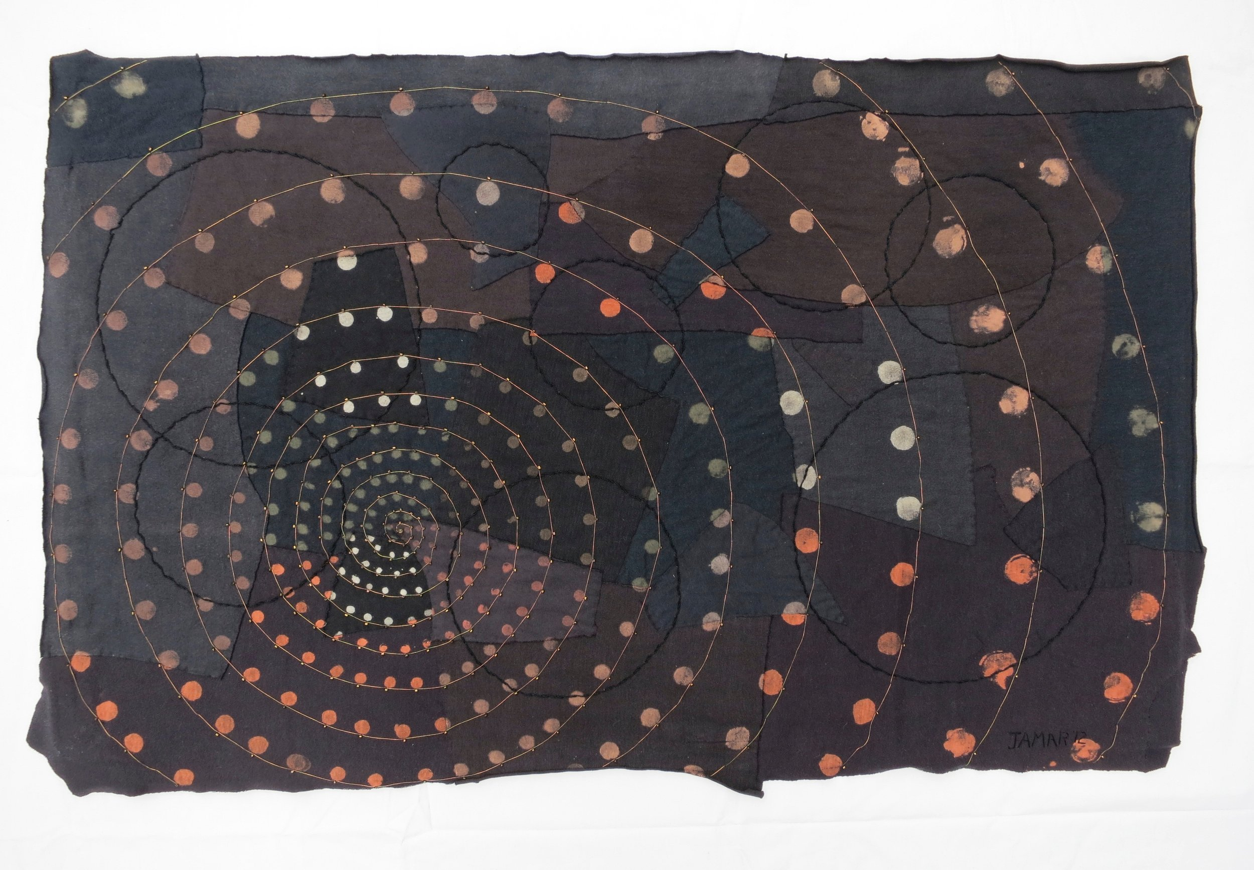 """Black T Boro: Spiral   2012 27"""" x 42.5""""Repurposed cotton t-shirts,beads and metallic thread collaged and hand sewn, color manipulated."""