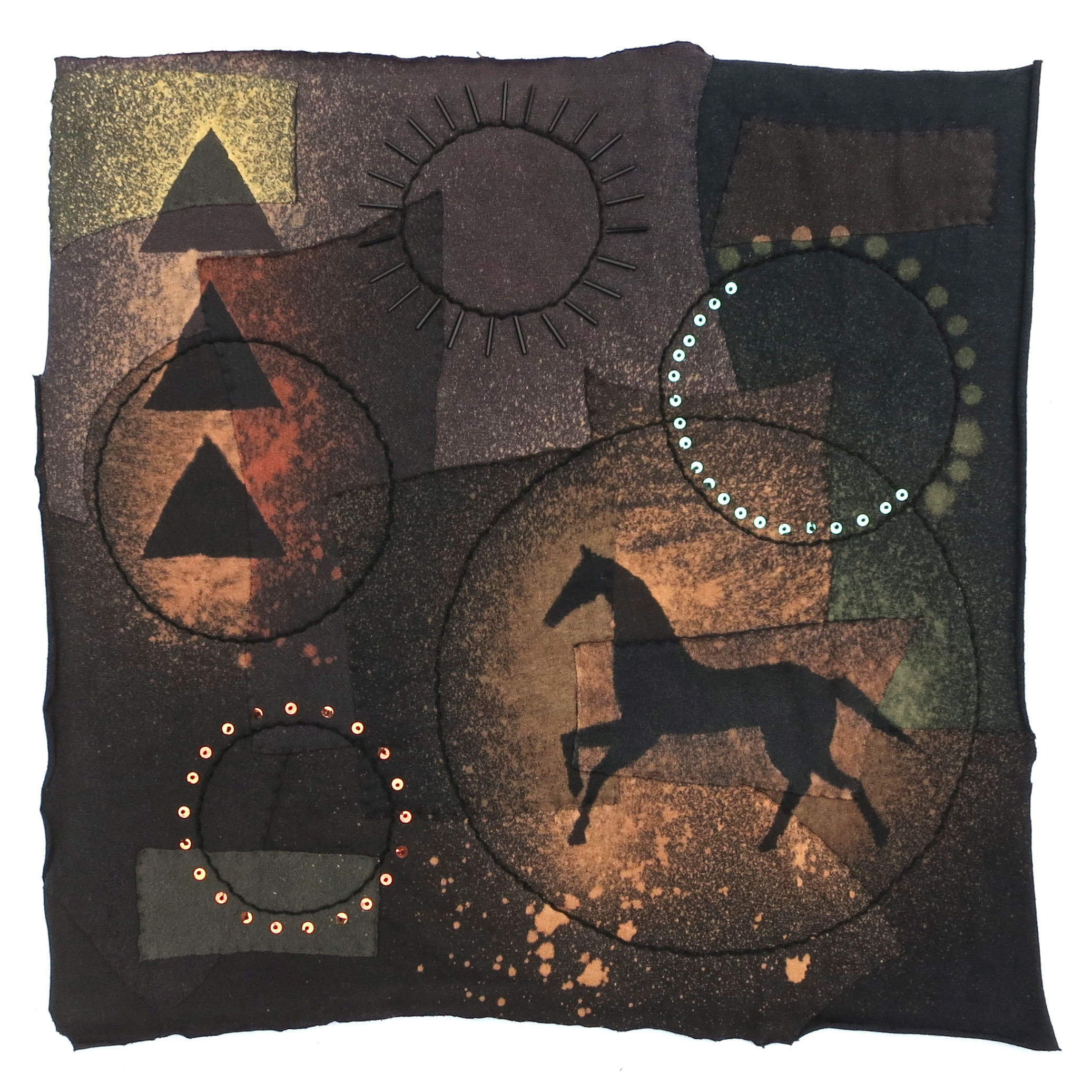 """Horse Fiberglyph   2012 20"""" x 20"""" Cotton t-shirts, collaged with glass beads, vintage sequins hand sewn and color manipulated."""