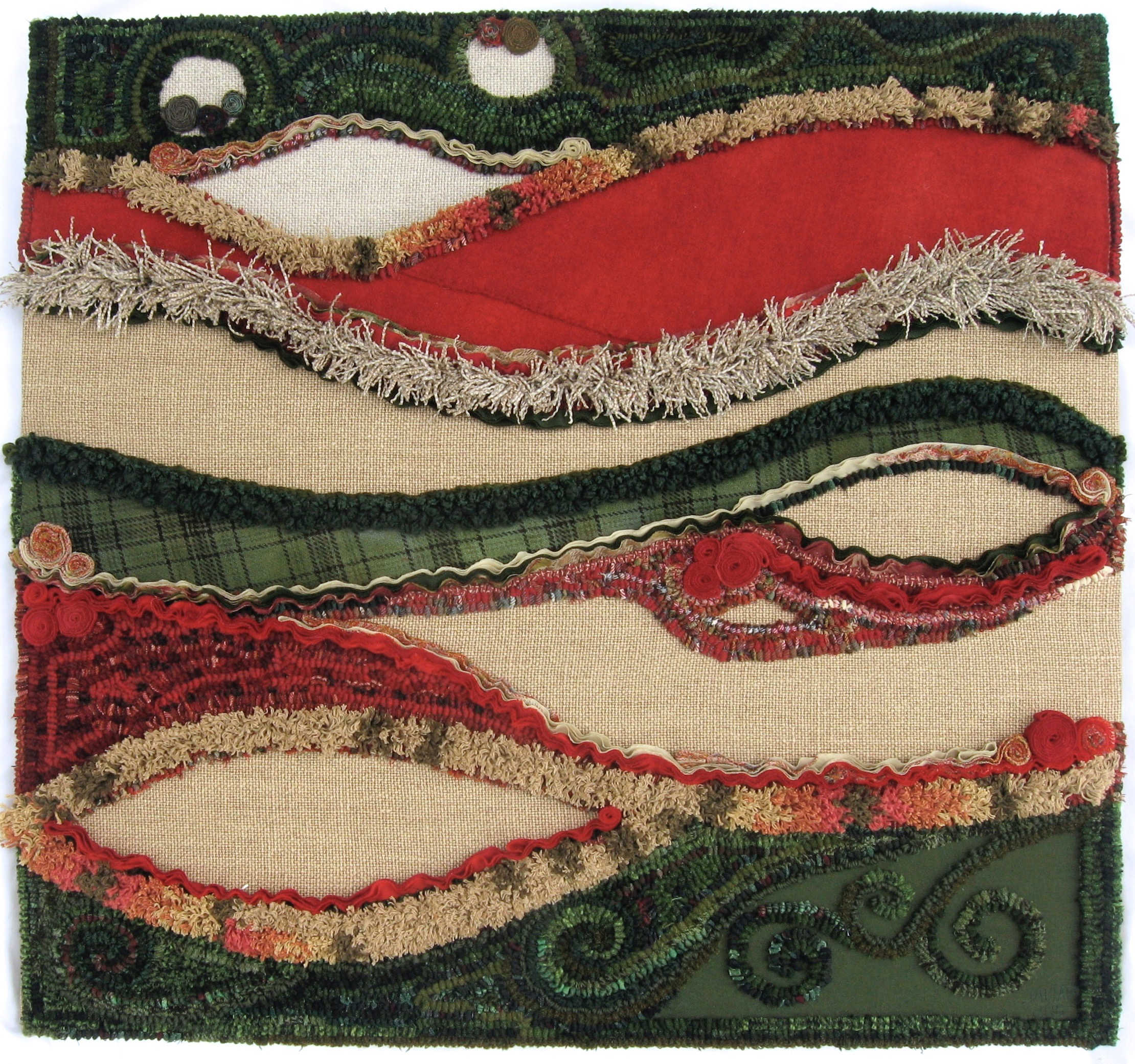"""Hedgerows   2011 29.75"""" x 31.5"""" Wool, cotton and synthetic fibers hand hooked, bias shirred, fringed and appliquéd on linen."""
