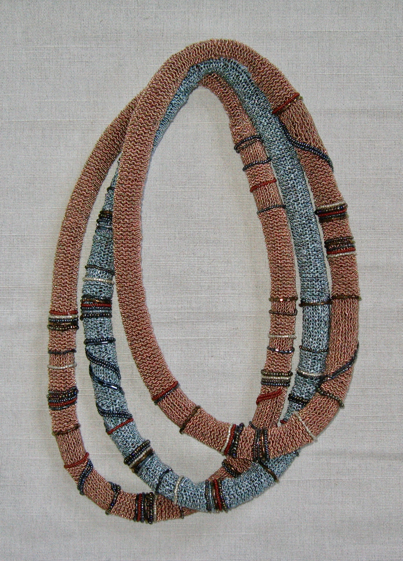 """Knit and Beaded Necklaces  2010 Approximately 28""""to 30"""" Rayon yarn and glass beads hand knit."""