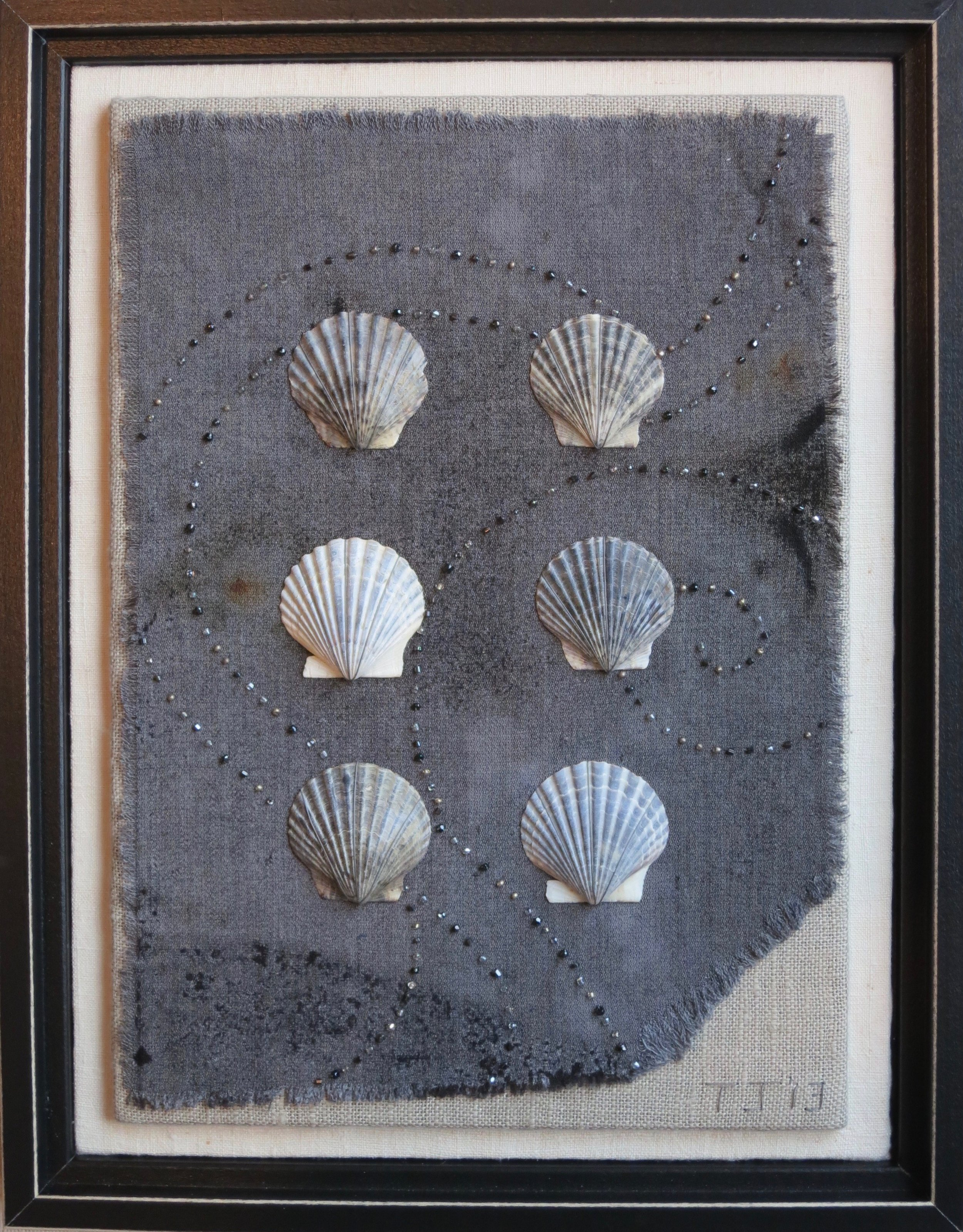 """Scallop Shells   2013 13.5"""" x 10"""" Shells and glass beads hand sewn to wool fragment."""