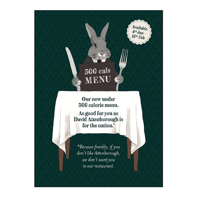 1/2 The front #veganuary healthy dining #illustration for @brakspearpubs • • • • •#illustrator #bunny #foodanddrink #drawing #draw #art #artist #artwork #portfolio #design #graphicdesign #davidattenborough #rabbit #restaurant #sketch