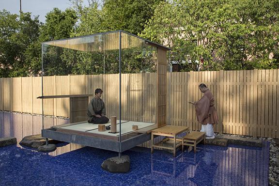tea ceremony at glass tea house  Mondrian