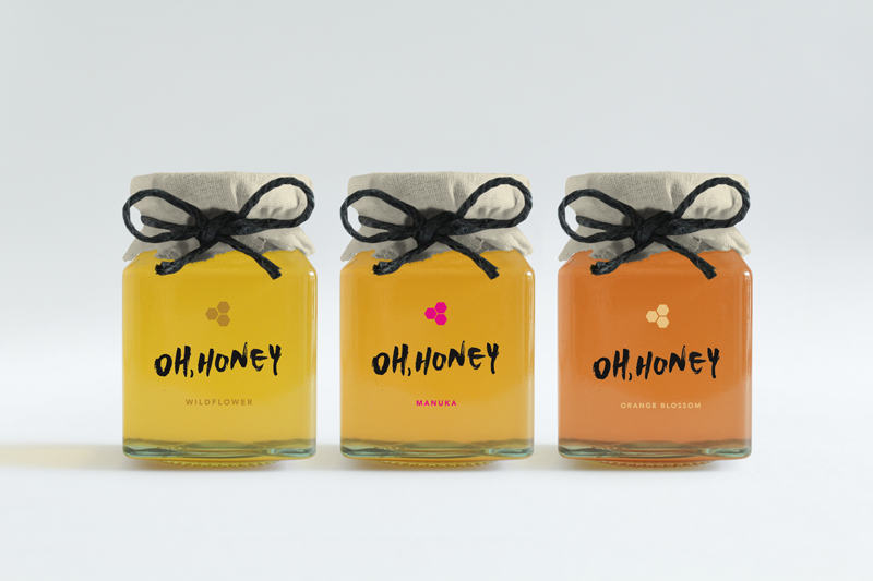 Oh, Honey   Designed a packaging identify for all natural honey.